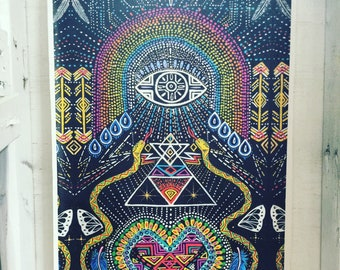 Large canvas giclee print with hand painted embellishments Kundalini Heart Woke