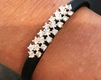 Stunning Crystal Face  Adjustable Black Leather Bracelet( One size fits Small - Large)