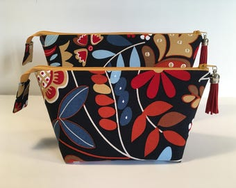 Set of 2 interior pockets with handkerchief and key case, travel pouch, makeup, jewelry case