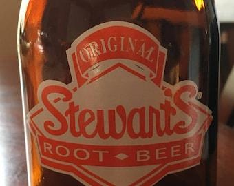 Original Stewart's Root Beer Pint Jar - Brown Glass