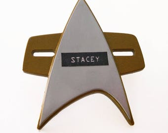 Personalized Star Trek Voyager/DS9 Insignia Badge Pin - Recycled Play Stands
