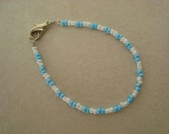 Little girl bracelet pearls blue and white