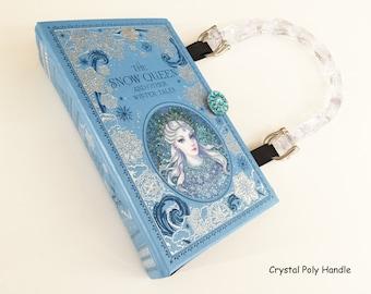 Snow Queen Leatherbound Book Purse - Frozen Gift - Christmas Book Cover Handbag - Winter Fairy Gift