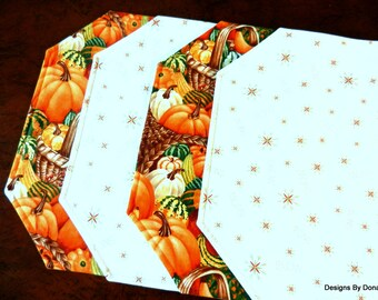One or More Quilted Placemats, Reversible, Cornucopia, Pumpkins, & Squash and Red/Green Dainty Snowflakes, Words SNOW, Handmade Table Linens