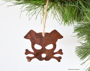 Dog Ornament / Rustic Outlaw Doggy Ornament -Bandit- by WATTO Distinctive Metal Wear / Christmas Ornament /Gift for Dog Lover Christmas Gift