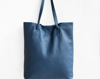 The Essential Tote in Steel Blue  / Leather Tote Bag  / Blue Tote Bag / Leather Handbag / Blue Leather Tote /Leather Handbag / Blue Bag