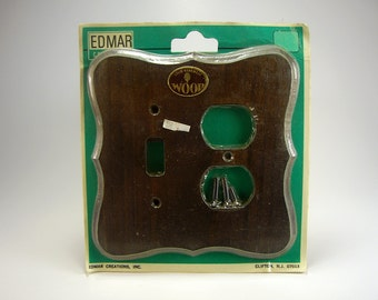 Vintage Combination Switch Plate, Solid Wood Pine, Dark Stain, Edmar Creations, Retro, 1970's, Renovations