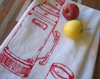 Tea Towel - Screen Printed Flour Sack Towel - Kitchen Towel - Camping Thermos - Cloth Dish Towel - Eco Friendly - Christmas Tea Towels