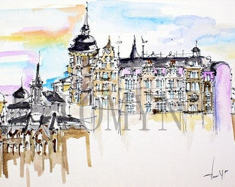 STOCKHOLM ORIGINAL WATERCOLOR. Sweden Architecture Art. Old Town Views. Wall Art Stockholm.