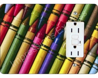 Coloring Crayons GFI Grounded Outlet Plate Cover