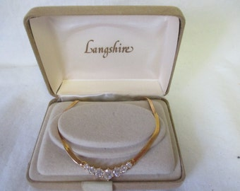 Vintage Costume Necklace CZ's with gold plated chain Excellent Condition
