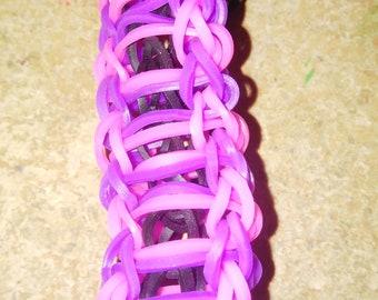 Pink Purple and Black Ladder Bracelet