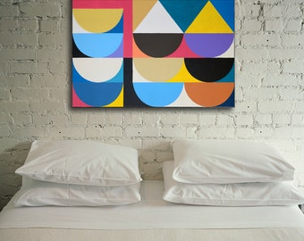 Original Oil Art Abstract Large Canvas Geometric Painting Wall Art Decor 24x36
