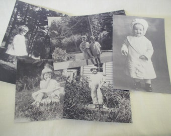 Black and White Photos of Children for Artwork or Scrapbooking