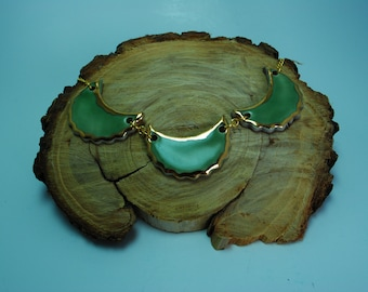 Handcrafted Ceramic Necklace   3 Piece Crescent in Celedon with Real Gold Accents