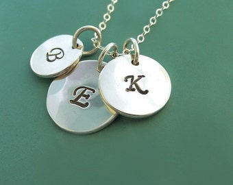 Letter Charm Necklace in Sterling Silver, Three Charms