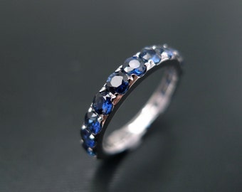 Blue Sapphire Wedding Band Ring in 14K White Gold