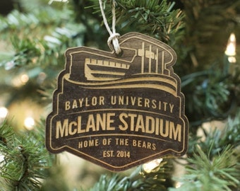 Laser Engraved Wood Ornament - Baylor McLane Stadium Logo