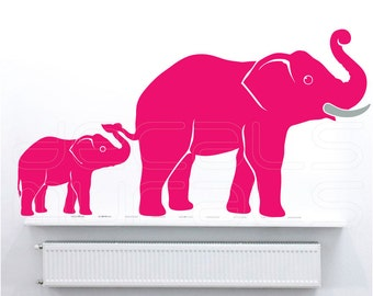 Wall decals MOM & BABY ELEPHANTS Family nursury interior decor by Decals Murals (24x44)