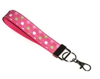 Swivel Key Fob Wristlet, Key Chain, Key Holder, Pink Polka Dot, Wrist Strap, Key Chain Wristlet, Gift for Teen Girl