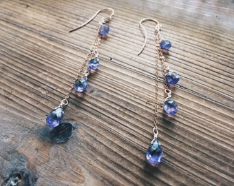 Amethyst Earrings // Purple Gemstone // Rose Gold // Hand Forged French Hooks // Amethyst Teardrops // Faceted Gemstone // Bohemian Bride