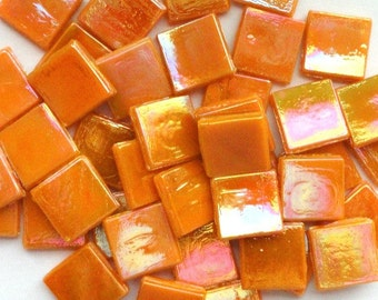 15mm Melon Orange Iridescent Glass Mosaic Tiles Square /Cantaloupe// Mosaic// Mosaic Supplies