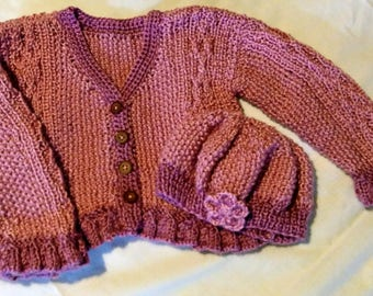 Hand knit Baby Sweater and Cap 3 -6 Months