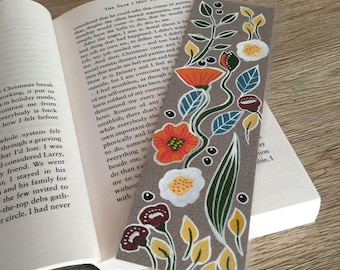 Hand illustrated metallic nordic poppies floral designed bookmark, with laminated gloss coating.