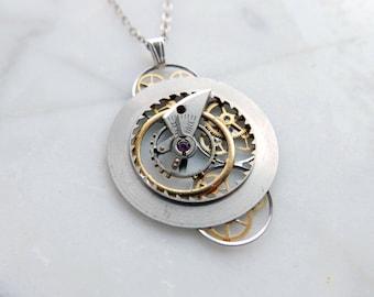 "Watch Parts Pendant ""Ormitron"" Cosmic Alien Delicate Beautiful Mechanical Gear Sculpture Necklace Industrial Steampunk Art Mechanical Mind"