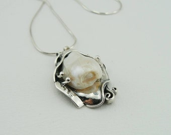 Hand Crafted 925 Sterling Silver Textured Pearl Pendant, White Freshwater Pearl, Wedding jewelry, Pearl jewelry, Pearl necklace (ms 700