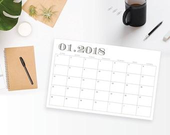 2018 Printable Wall Calendar - 11 x 17 Modern 12 Month Wall Calendar - Professional, Home, Classroom Planner - Instant Download