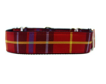 Wide 1 1/2 inch Adjustable Buckle or Martingale Dog Collar in Holiday Plaid