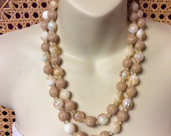 Vintage 1950s Hong Kong double strand necklace.