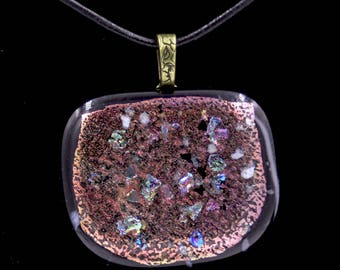 Bronze and Rainbow Chip Dichroic Pendant