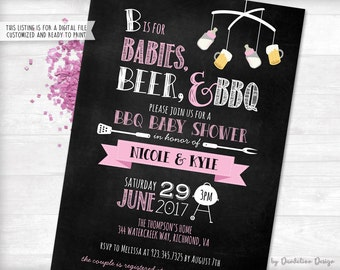 Babies, Beer & BBQ Baby Shower Invitation Printable