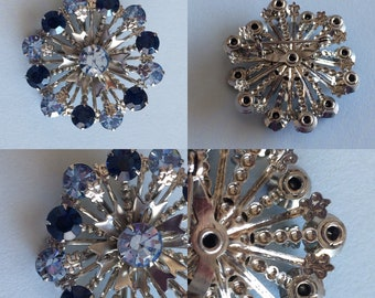 Vintage 1970s Dark and Light Blue Rhinestone Flower Brooch