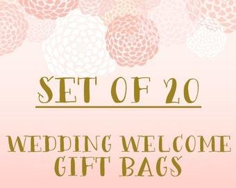 Set of 20+ Wedding Welcome Gift Bags- Bulk Discount