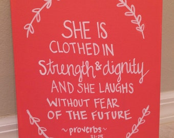 Quote Canvas Scripture Proverbs 31:25