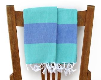 Kitchen Towels Handwoven Cotton Hand Towel Face Towel Tea Towel Bathroom Guest Towel Turkish Towel Blue Turquoise SEASIDE PESHKIR SET