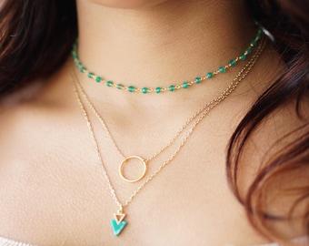 Green Onyx Choker, Gold Layered Choker, Rosary Bead Choker, Chain Thin Choker, Dainty Choker, Choker Necklace, Gemstone Choker, Sister Gift