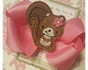 Hair clips-squirrel hair clips-hair bows-girl barrettes