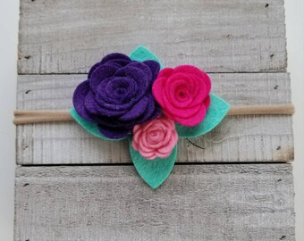 Bright felt flower trio headband