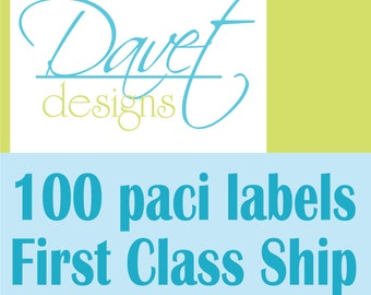 100 Waterproof Kid's Pacifier (or baby food) Labels - Dishwasher Safe - First Class Shipping - no tracking number