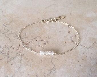 April, Crystal Quartz, One Initial, Leaf Charm, Birthday Gemstone, Gift,  Personalized Jewelry, Sterling Silver Bracelet, LIJ 13069
