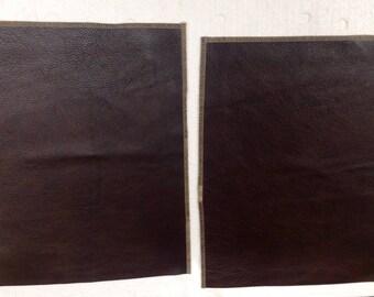 SWAT301.  Package of 2 Walnut Brown Leather Cowhide Remnants