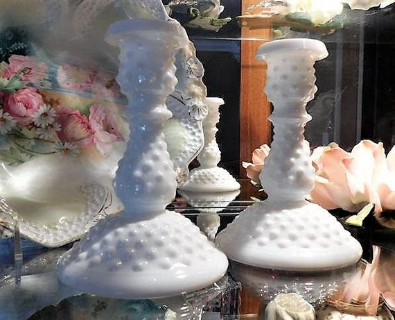 Fenton Milk Glass Hobnail Candlesticks / Candle Holders Pair