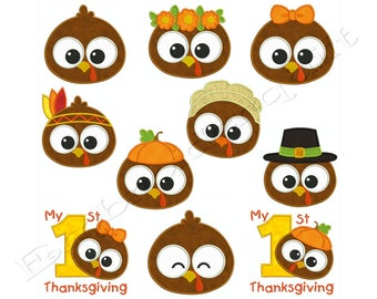 Thanksgiving BABY PILGRIM TURKEY Set Machine Applique Embroidery - Instant Digital Download
