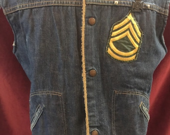 Vintage 1970's Wrangler Lined Denim Vest With Patches