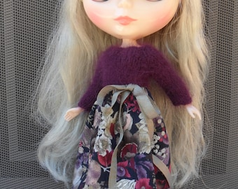 BLYTHE DOLL Dress -- Lovely shades of Purple, Knit and Cotton  Dress -- No Doll