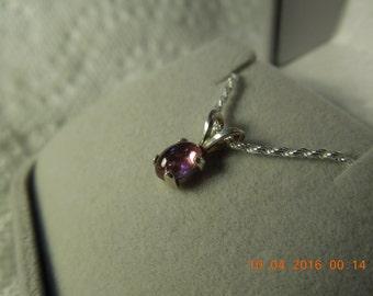 Rhodolite Garnet Pendant; Garnet Cabochon Necklace Set in .925 Sterling Silver
